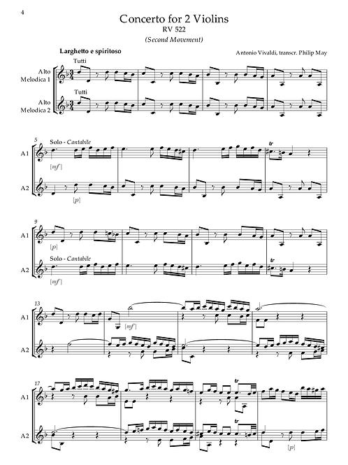 Vivaldi - Concerto for 2 Violins, Larghetto (transcr. 2 or 3 Alto Melodicas)