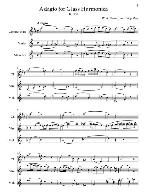 Mozart - Adagio for Glass Harmonica (transcr. Clarinet, Violin & Alto Melodica)