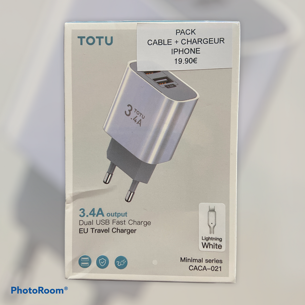 Pack Câble Iphone Lightning 1,20m + Chargeur