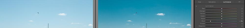 Imagem com luminância do canal azul ajustada