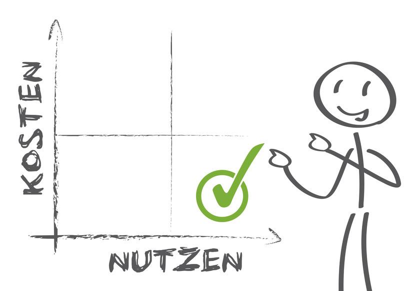 Handgezeichnetes Diagramm zeigt Verhältnis zwischen Nutzen und Kosten