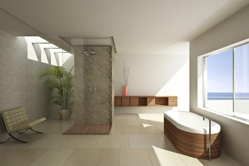 Badezimmer mit offener Dusche, Badewanne mit Holzverkleidung und verlegtem Fliesendboden