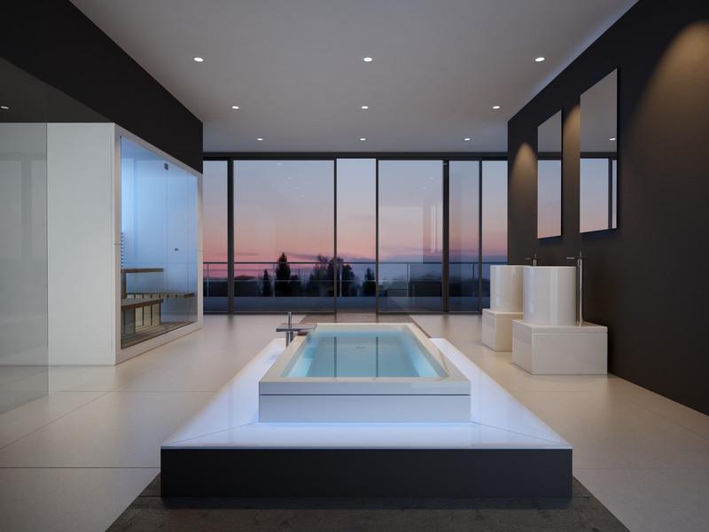 Ein offenes und sehr großes Badezimmer mit einer Badewanne