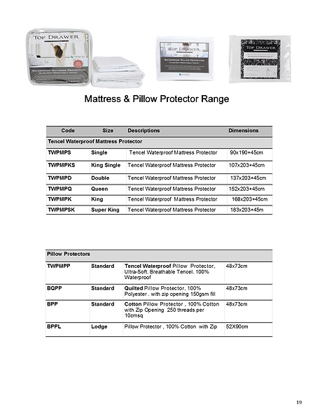 Top Drawer Mattress & Pillow Protector Range