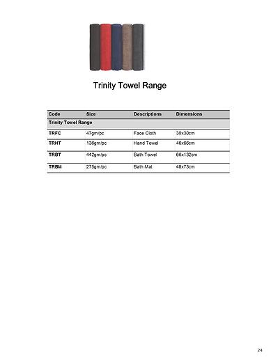 Trinity Towels Range