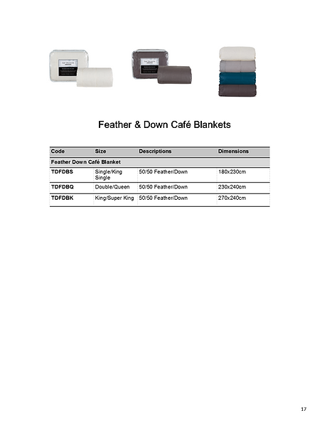 Feather & Down Cafe Blankets