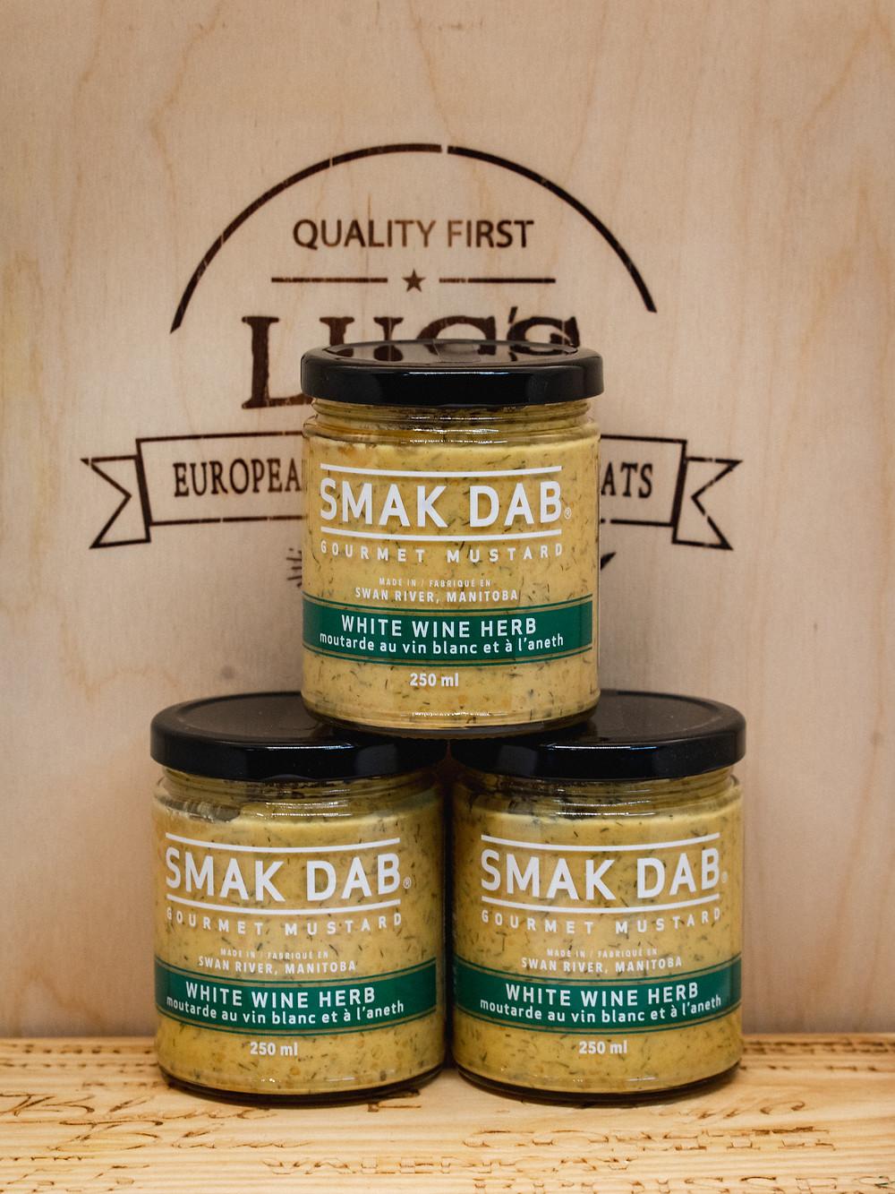 Three jars of mustard