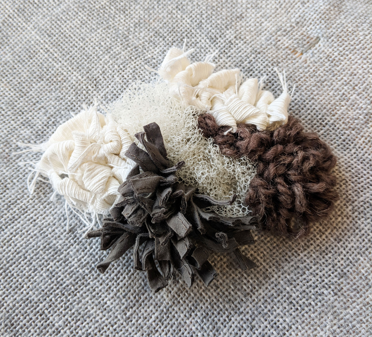 Many different types of materials and fabrics can be used to rag rug, combining different types creates interesting shapes and textures.