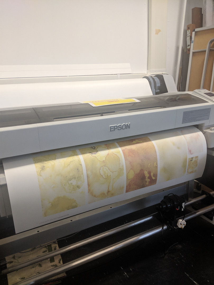 Watercolour edits being printed onto disperse dye paper - ready to create fabric prints using the heatbed.