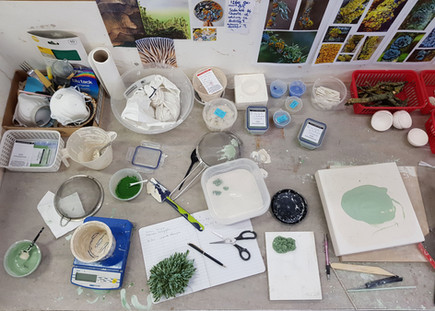 An insight into my work space in the ceramics studio on a typical day.