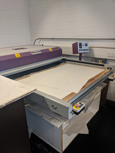 Printed disperse paper is then placed onto the heatbed to create fabric prints.