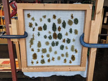Examples of experiments with different coloured tufted yarns to mimic grasses and mosses.