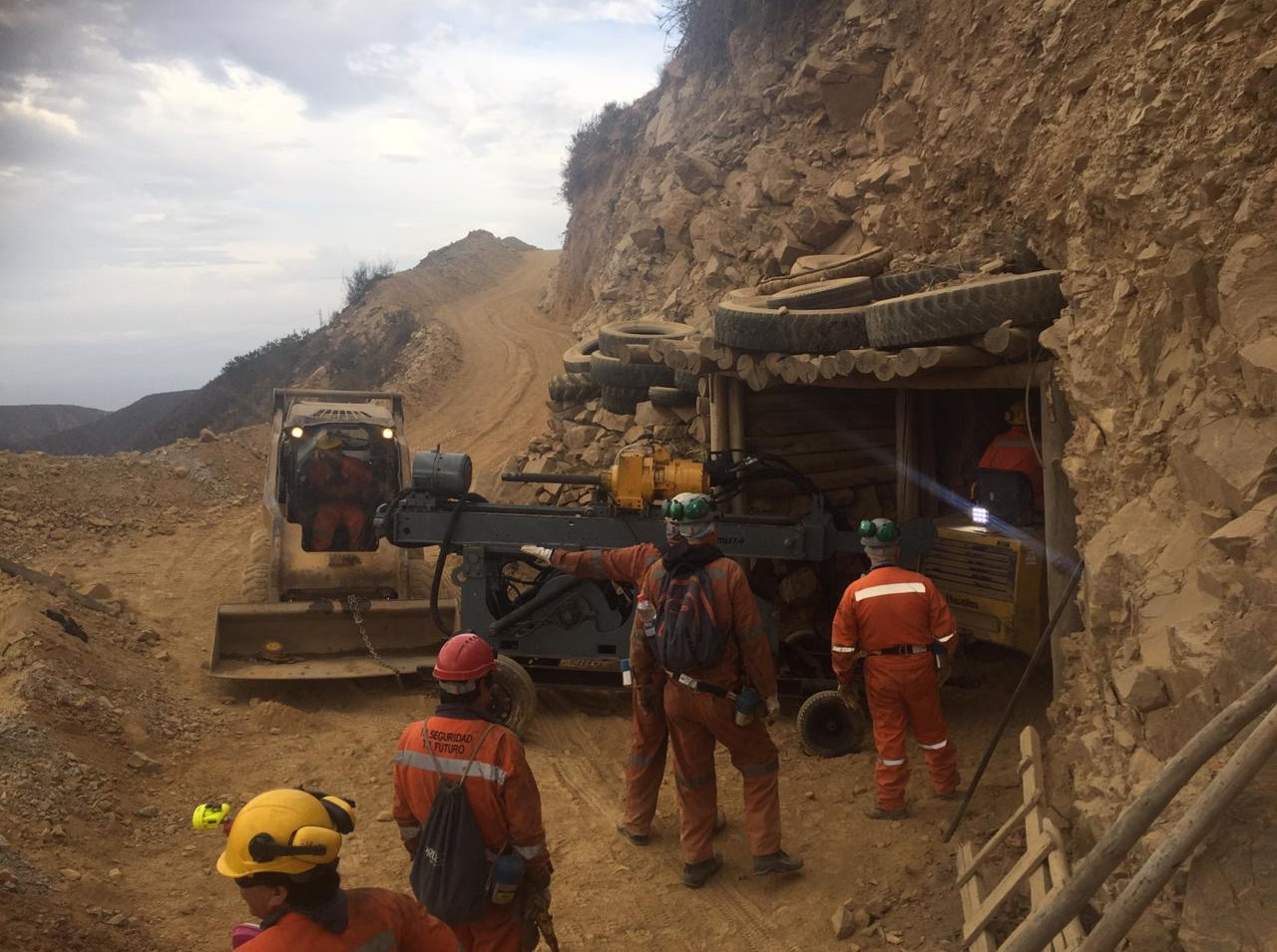 Drilling equipment entering mine