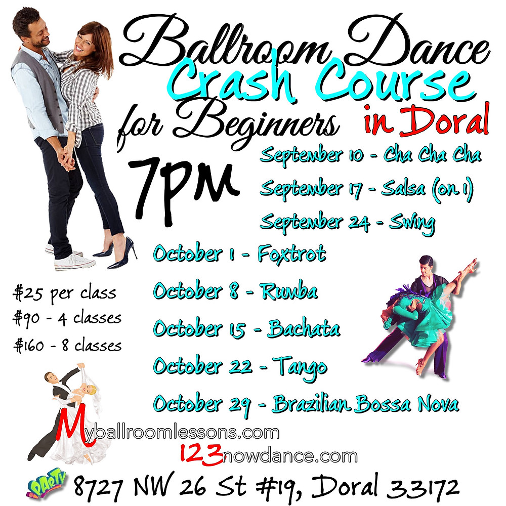 Ballroom dance crash course for beginners in Miami is organized by Myballroomlessons.com and hosted by Eugenia Spotar in September 2018