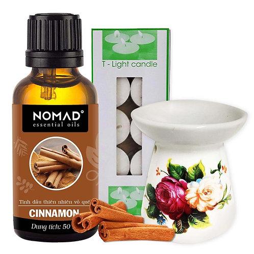 Tinh Dầu Vỏ Quế Nomad Cinanmon Essential Oils 50ml+Đèn Đốt Dạng Nến+1 Hộp Nến