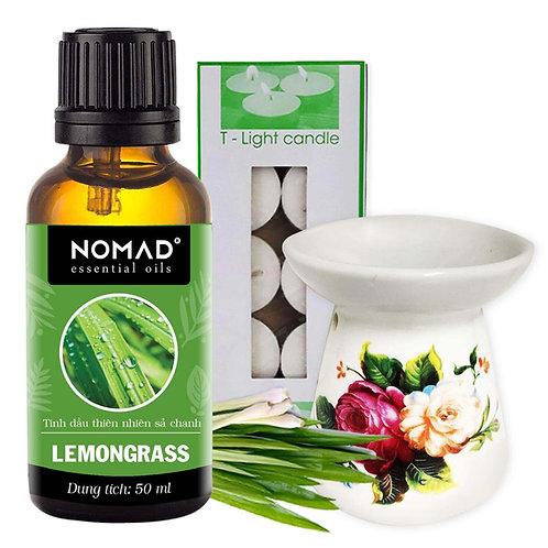 Tinh Dầu Sả Chanh Nomad Lemongrass Essential Oils 50ml+Đèn Đốt Dạng Nến+1Hộp Nến