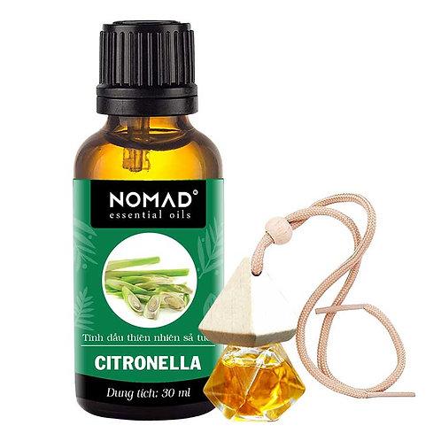 Tinh Dầu Sả Tươi Nomad Essential Oils Citronella 30ml Và Vỏ Tinh Dầu Dạng Treo