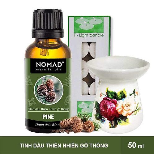 Tinh Dầu Gỗ Thông Nomad Pine Essential Oils 50ml + Đèn Đốt Dạng Nến + 1 Hộp Nến