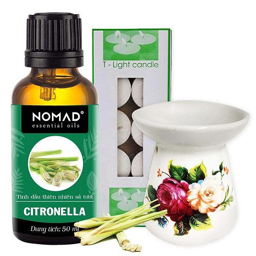 Tinh Dầu Sả Tươi Nomad Citronella Essential Oils 50ml+Đèn Đốt Dạng Nến+1 Hộp Nến
