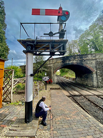 The Arley signalman waits with the singl