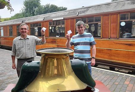 Andrew Bartlam and Martin White draw the raffle winners at Bridgnorth on 30th June 2021 (C