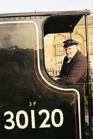 Tony B on footplate of visiting locomoti