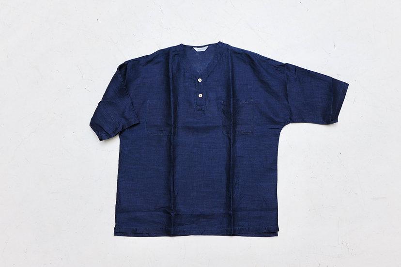 FUJITO/WF1-S47/Indigo Henley Neck Shirt