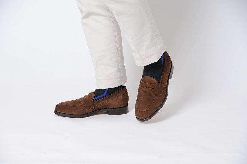 BARKER/Suede leather loafers