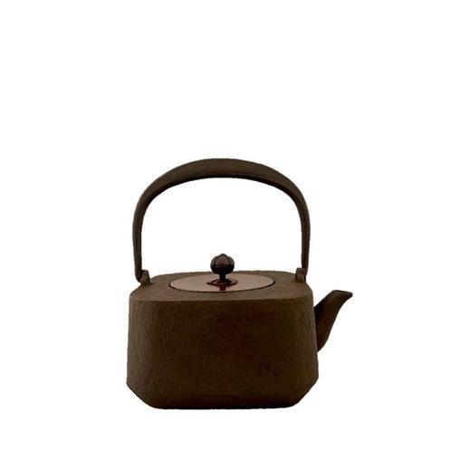 鉄瓶 四方姥口肌(唐銅蓋) 1.1L