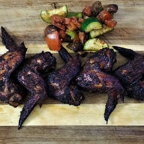 Smoked Chicken Wings and Grilled Veggies (Keto Recipe)