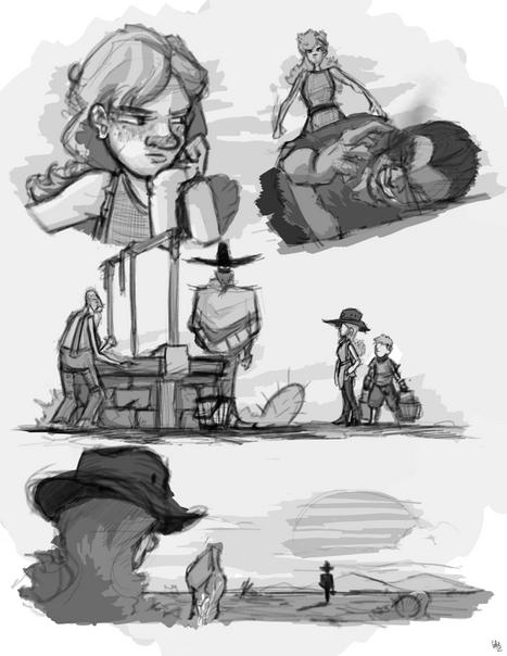 """Sun-Cursed"" Story Illustrations"