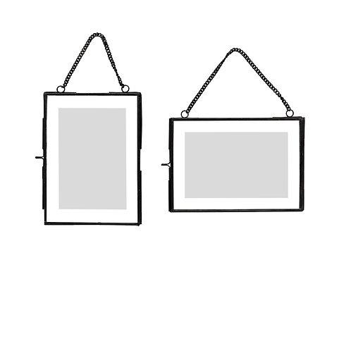 Pakabinami nuotraukų rėmeliai, žalvariniai, stikliniai 2vnt.