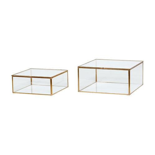 Stiklinės dėžutės, stiklinės, žalvarinės 2vnt.