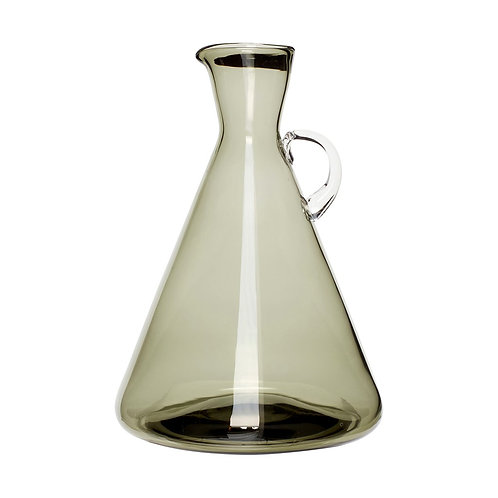 Vaza su rankena, stiklinė, žalia