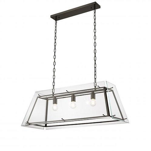 Pakabinamas šviestuvas, metalinis, stiklinis, pilkas