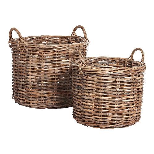 Krepšys su rankena, apvalus iš ratano