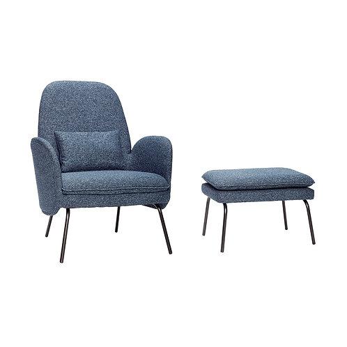 Kėdė su taburete, medžiaginė, metalinė, mėlyna