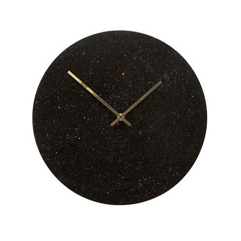 Laikrodis, marmūrinis, juodas, auksinis