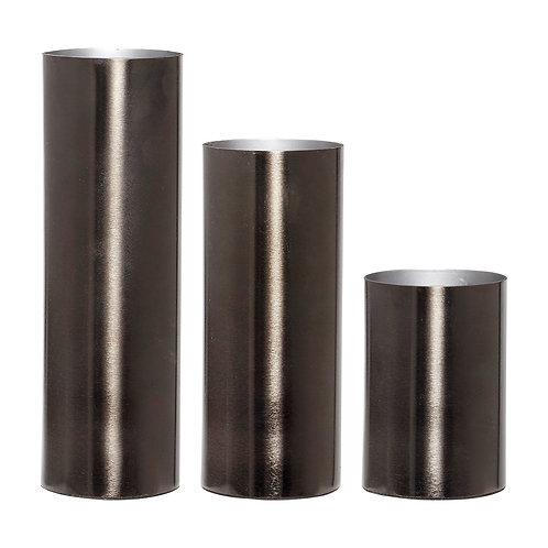 Vazos, metalinės, pilkos 3vnt.