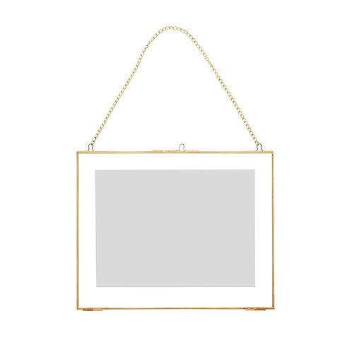 Pakabinamas nuotraukų rėmėlis, stiklinis, žalvarinis