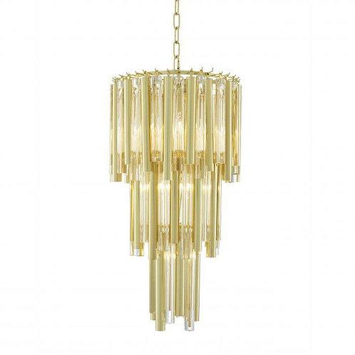 Pakabinamas šviestuvas, metalinis, stiklinis, auksinis