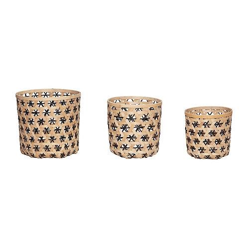 Krepšys, apvalus, bambukinis