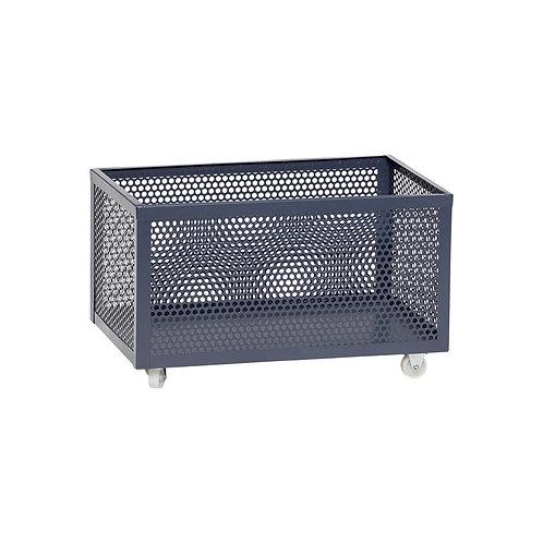 Dėžė su ratukais, metalinė, pilka