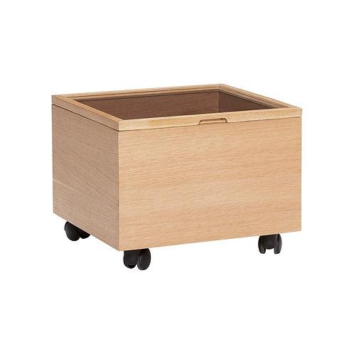 Dėžė su ratukais, ąžuolinė, stiklinė