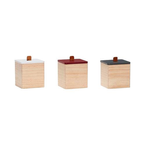 Dėžutės, medinės, baltos, žalios, raudonos 3vnt.
