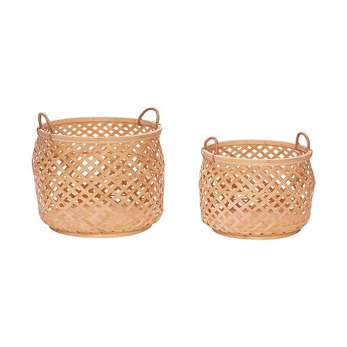 Krepšys su rankena, apvalus, bambukinis