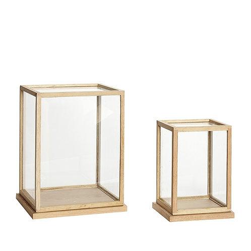 Stiklinės dėžutės, ąžuolinės, stiklinės 2vnt.