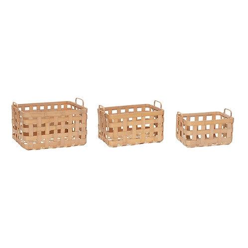 Krepšys su rankena, bambukinis