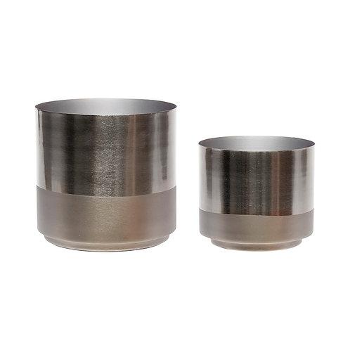 Vazos, metalinės, pilkos 2vnt.