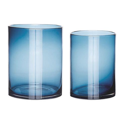 Vazos, stiklinės, mėlynos 2vnt.